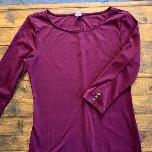 Old Navy 3/4 Length Sleeve Dress Small Burgundy